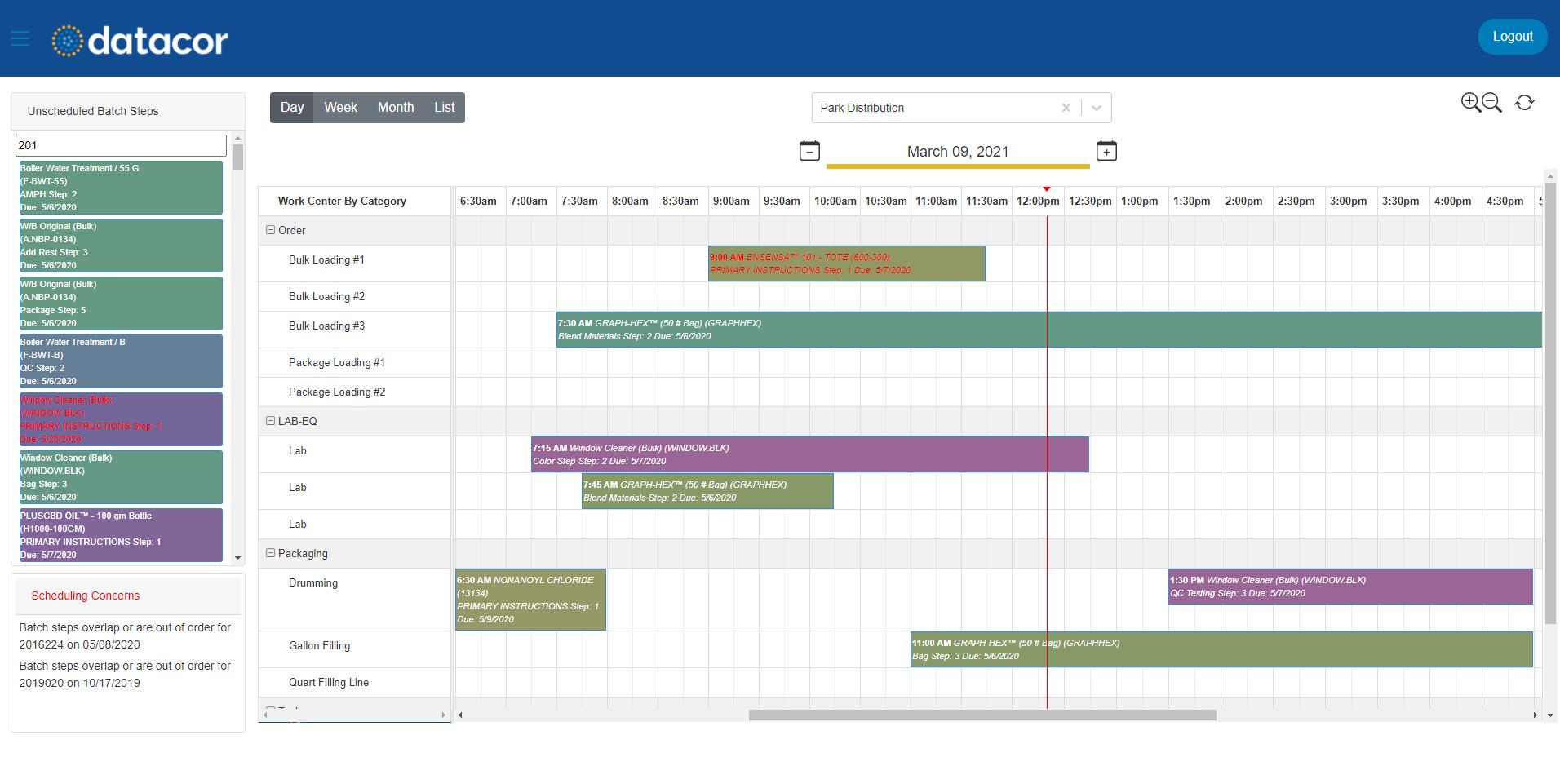 Datacor ERP Software - Graphical Scheduler