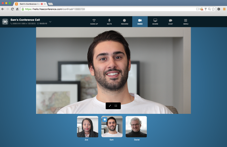 FreeConference screenshot: HD conference by web from desktop or mobile devices