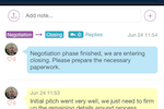 Tubular screenshot: Notes can be added to deal timelines