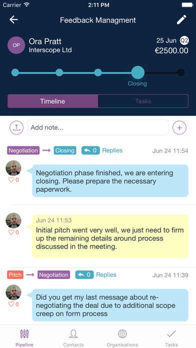Notes can be added to deal timelines