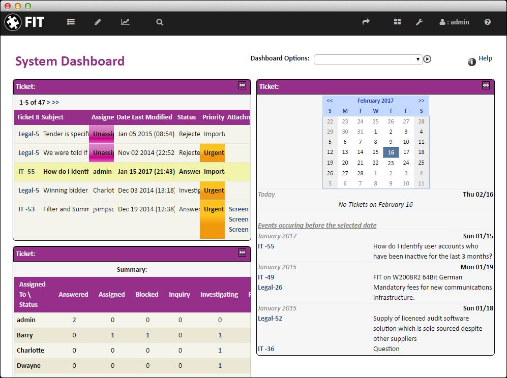 System dashboard