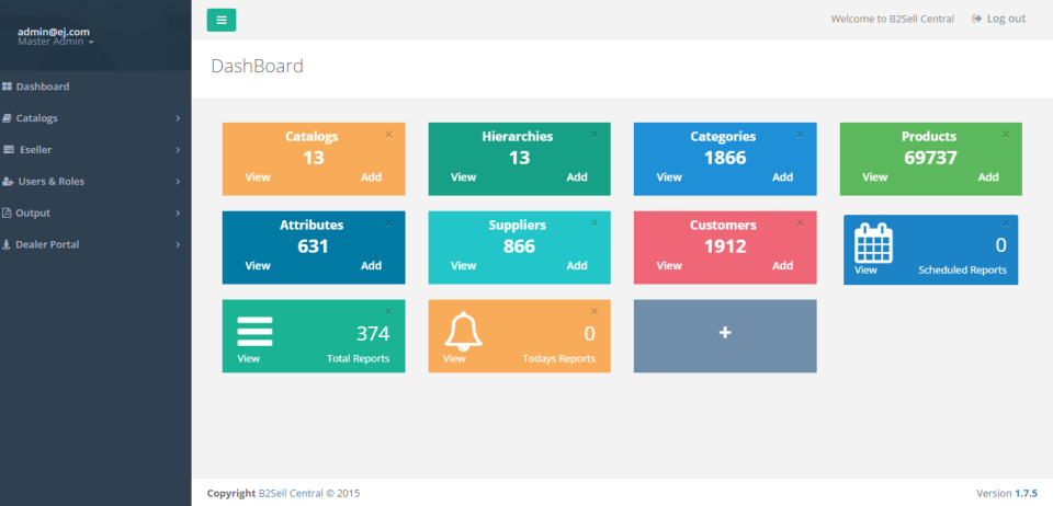 eJeeva Central screenshot: eJeeva Central dashboard