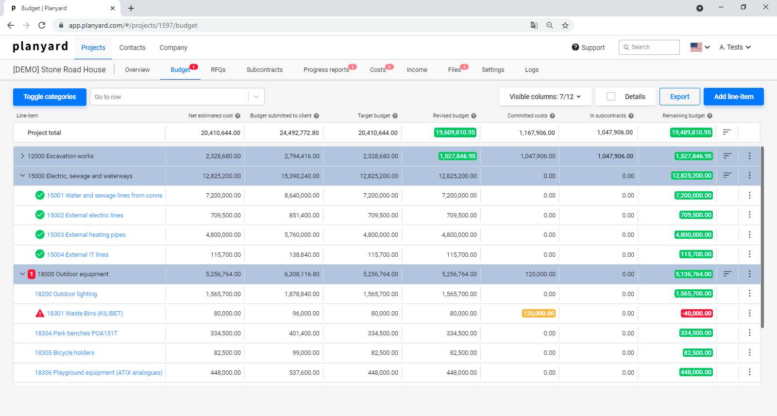 Planyard budget view - track everthing from estimated units and costs to approving the final invoice in one place.