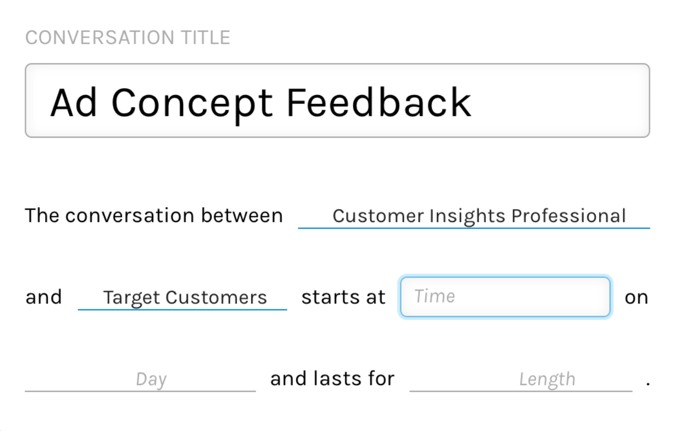 Users can create and schedule live conversation sessions