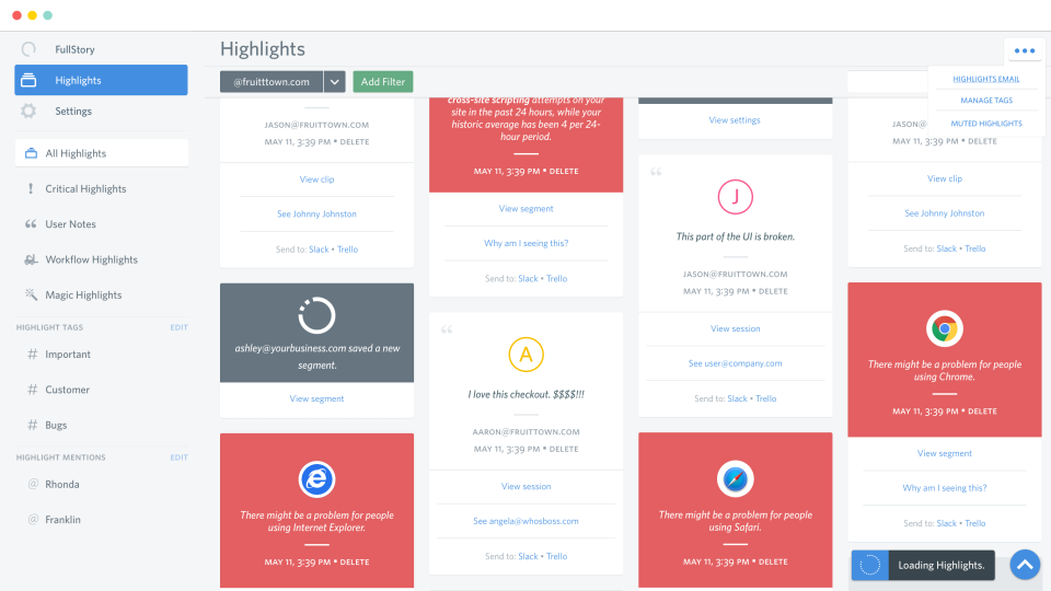 The highlights page provides an overview of important events and feedback