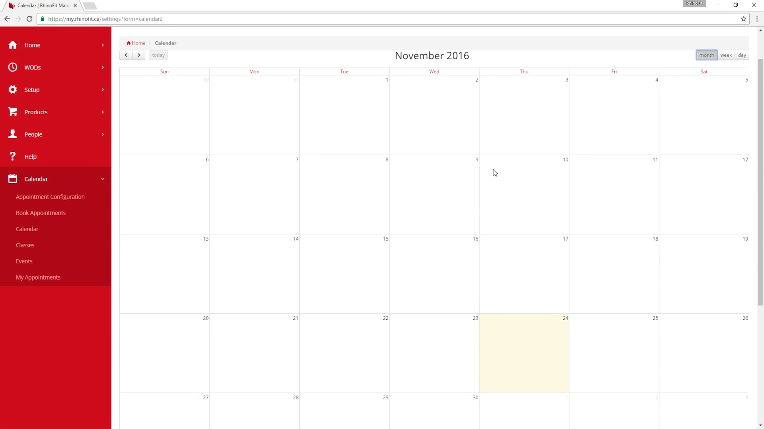 Switch between month, week and day calendar views to see immediately where and when classes are being held