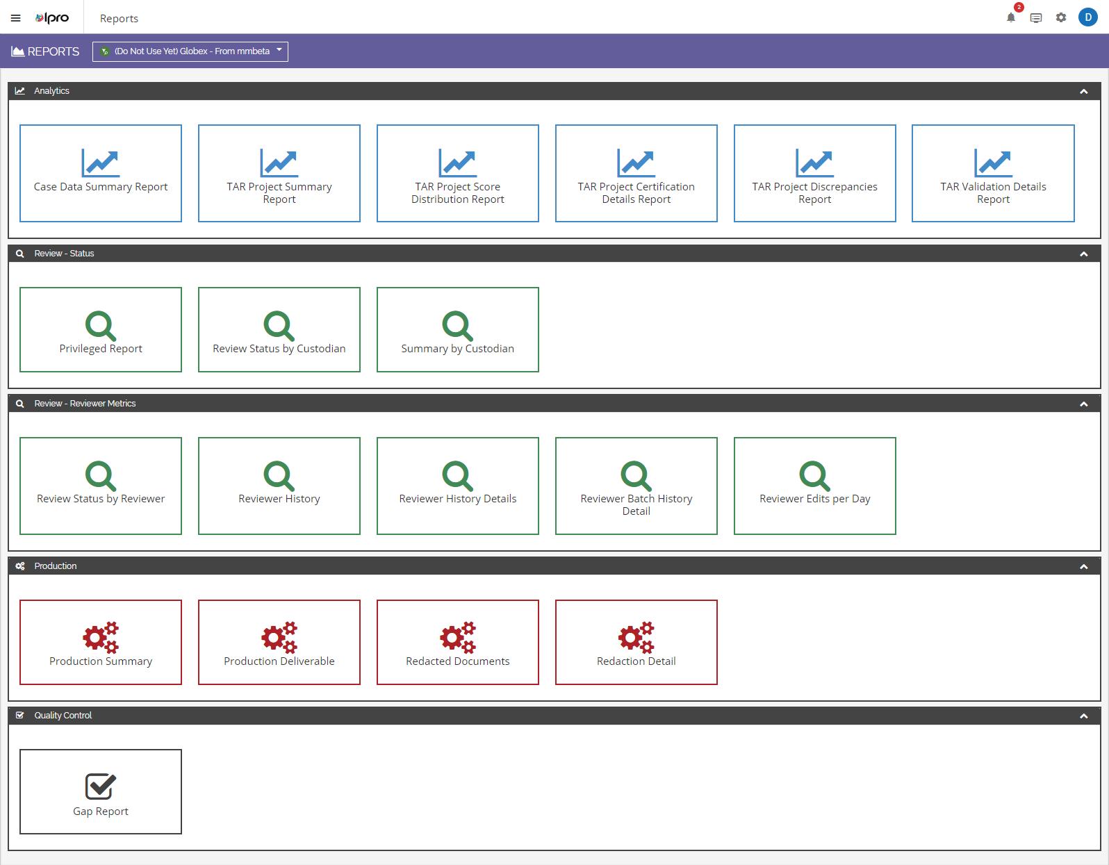 Ipro for Enterprise reports screenshot