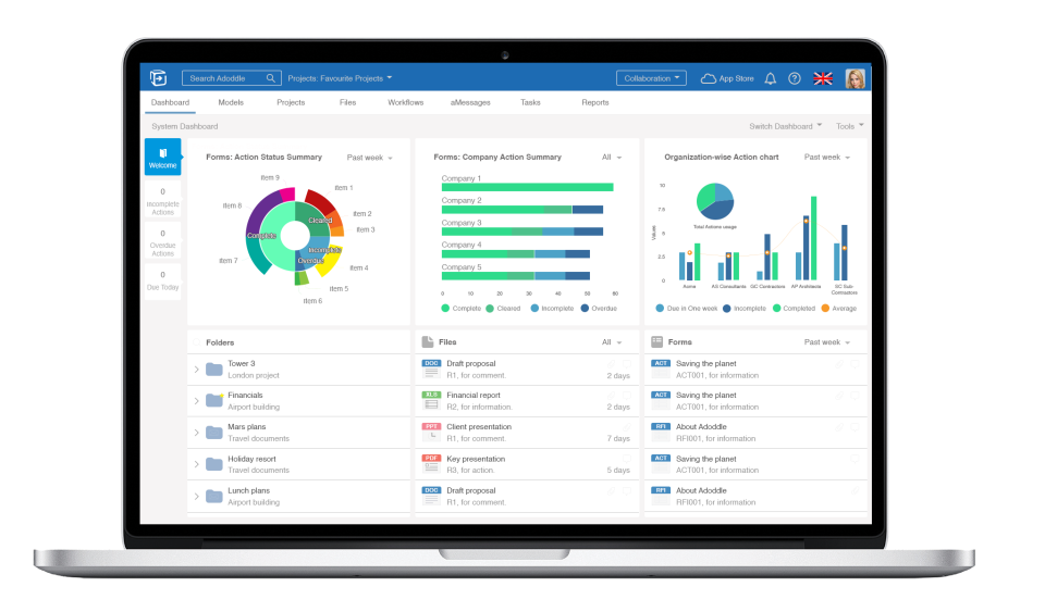 Adoddle Software - Asite dashboard