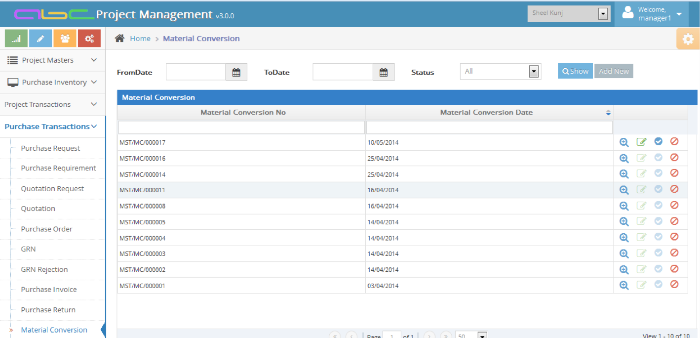 Bhoomi Software - Material conversion