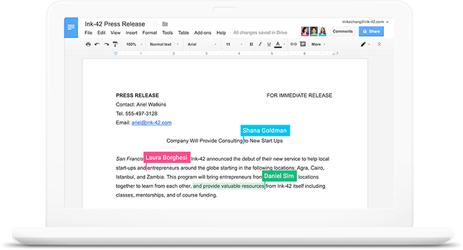 Collaborate in real time with synchronous, auto-save, real-time editing