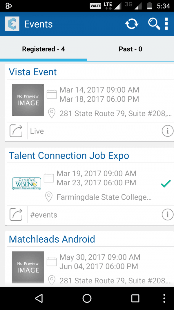 Users can see all the events they've registered for while on the go