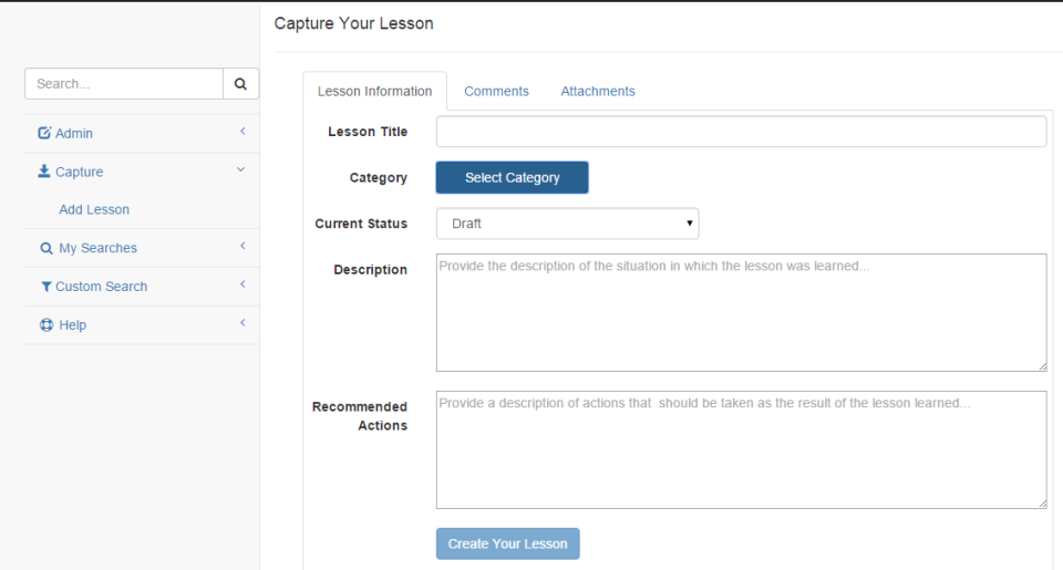 Capture lessons by completing online forms with lesson titles, descriptions, and recommended actions
