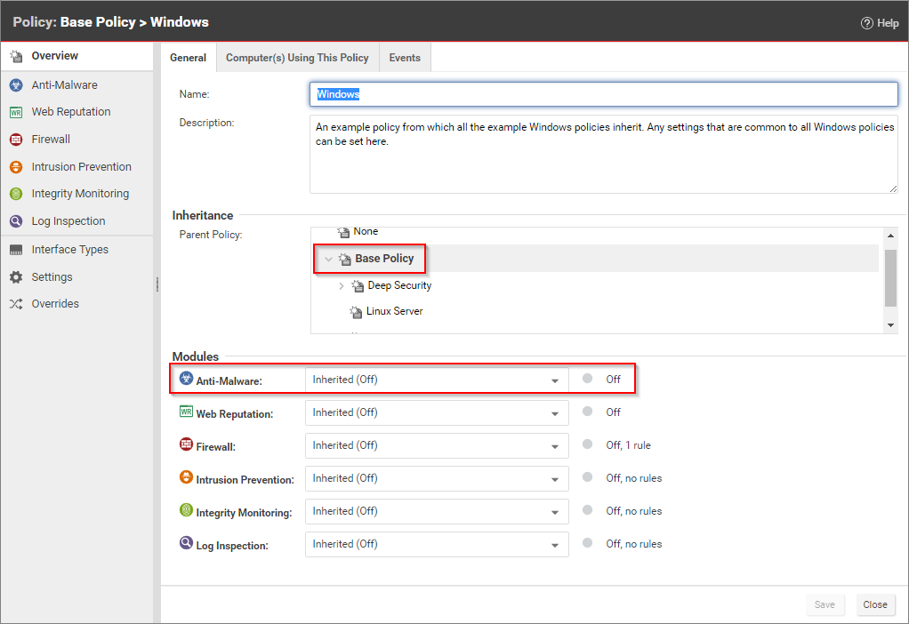 Trend Micro Deep Security policy