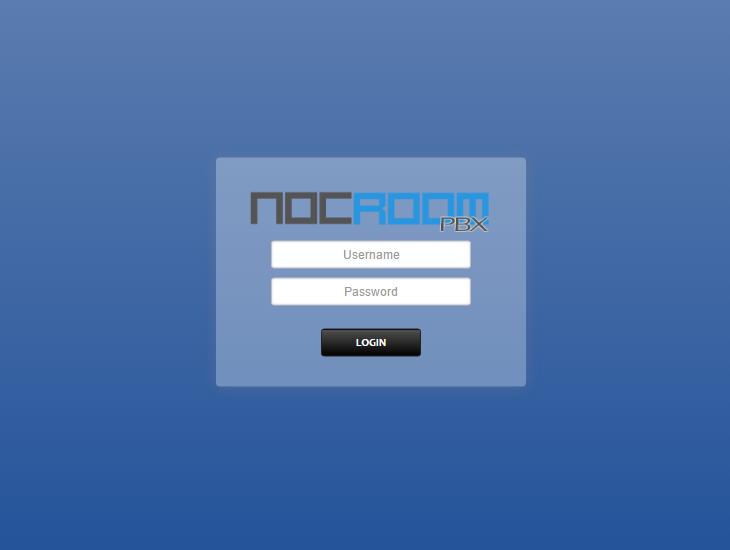 NocRoom Hosted PBX Software - Login screen
