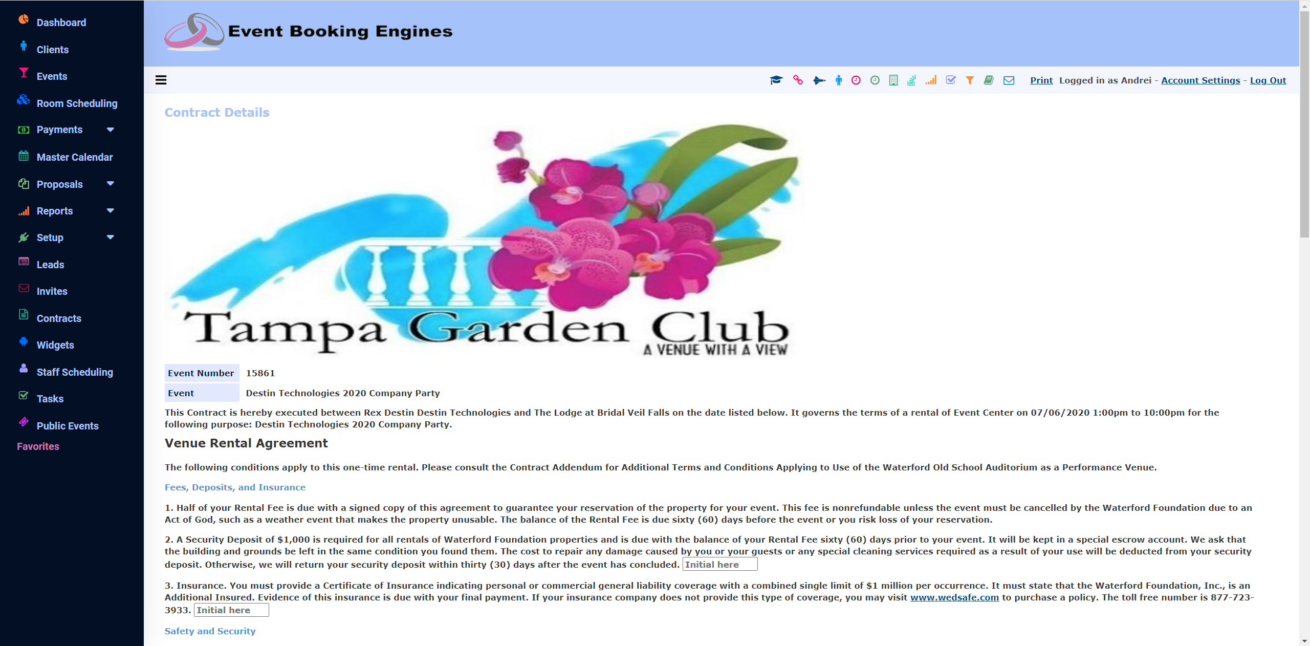 Event Booking Engines Software - Contract