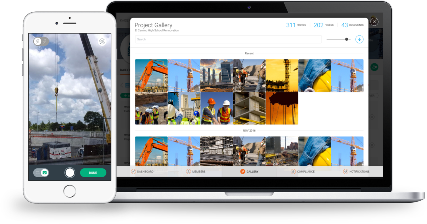 RAKEN screenshot: Capture photos and video on the jobsite with the camera inside the Raken app. Raken organizes photos and videos in galleries so that users can easily locate important files