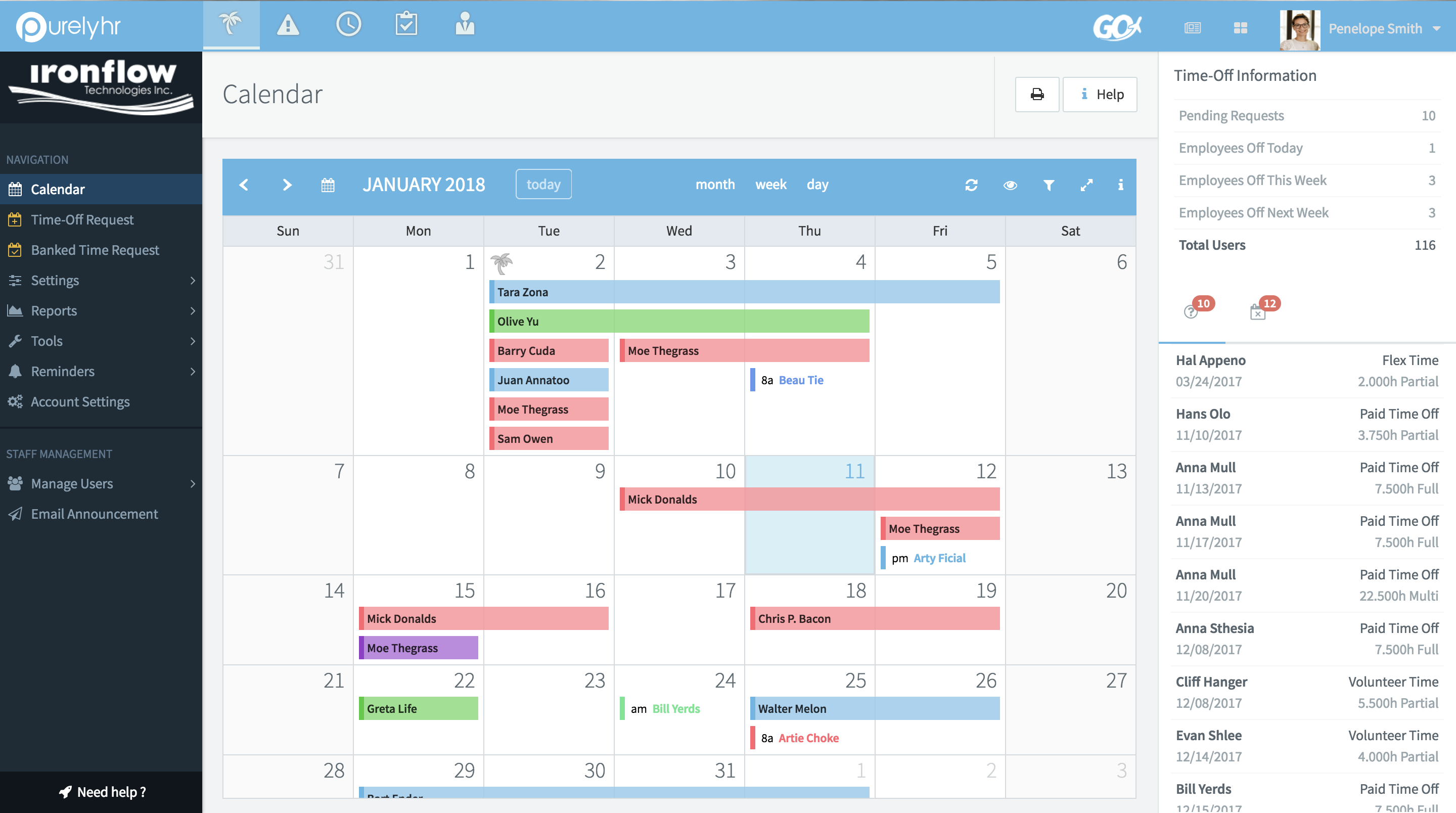 Time off calendar view