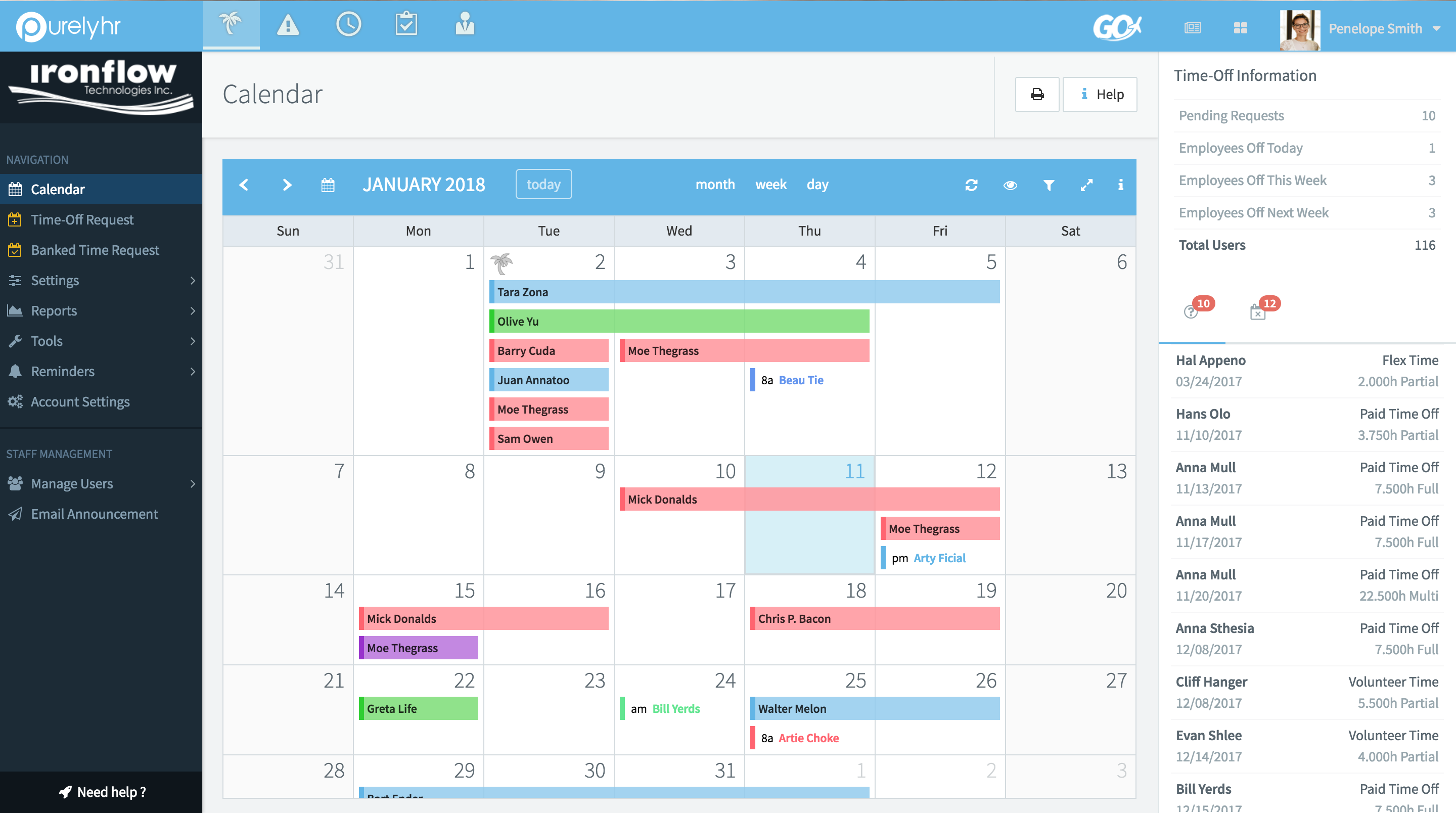 PurelyHR Software - Shared leave calendar - Time-Off module
