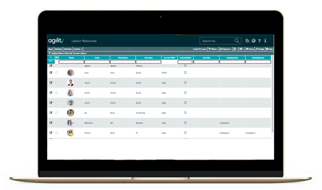 Agility includes expansive employee and contractor records, allowing users to store multiple contact details, images, skills, and training information