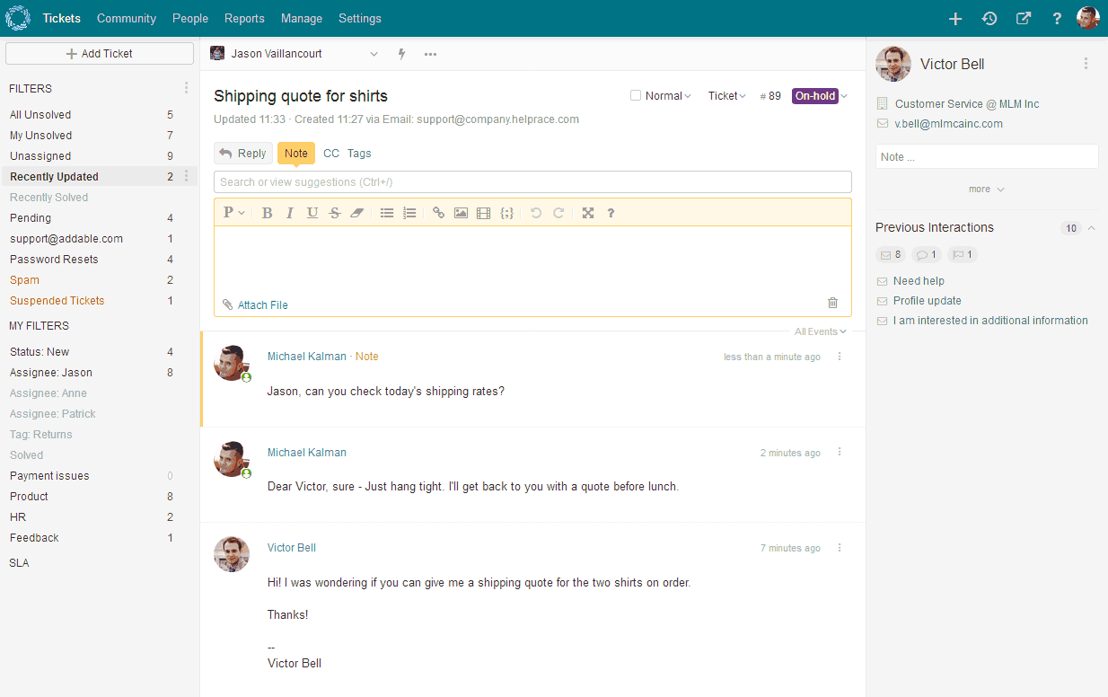 Helprace screenshot: Help Desk System (Admin Panel)
