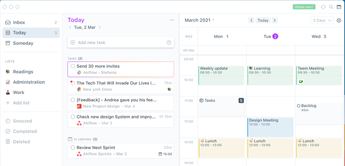 Akiflow unified task and calendar view