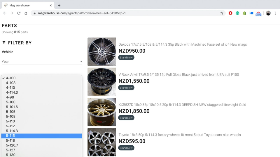 PartsPal wheel & tire fitment