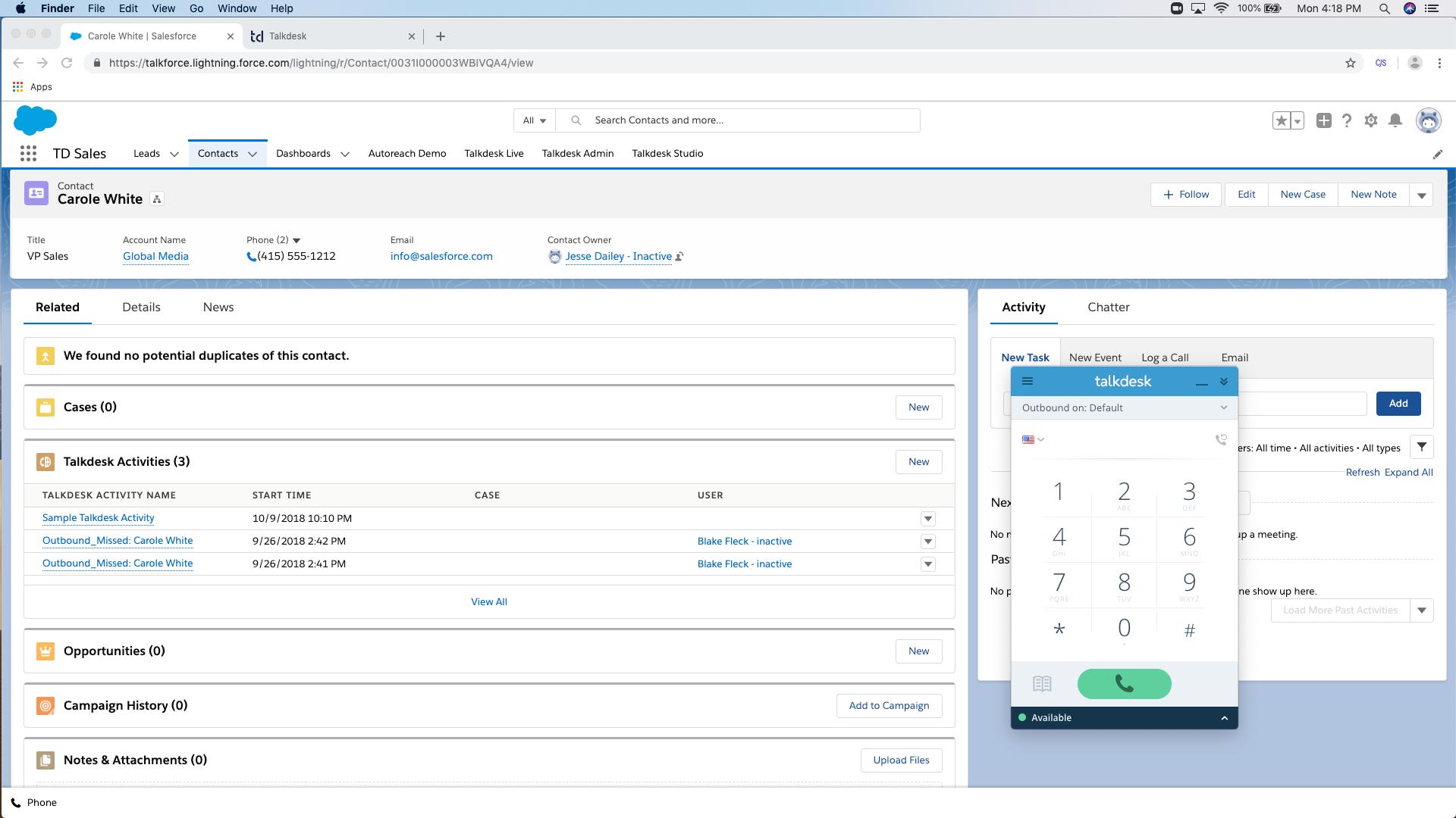 Talkdesk Software - Talkdesk for Salesforce