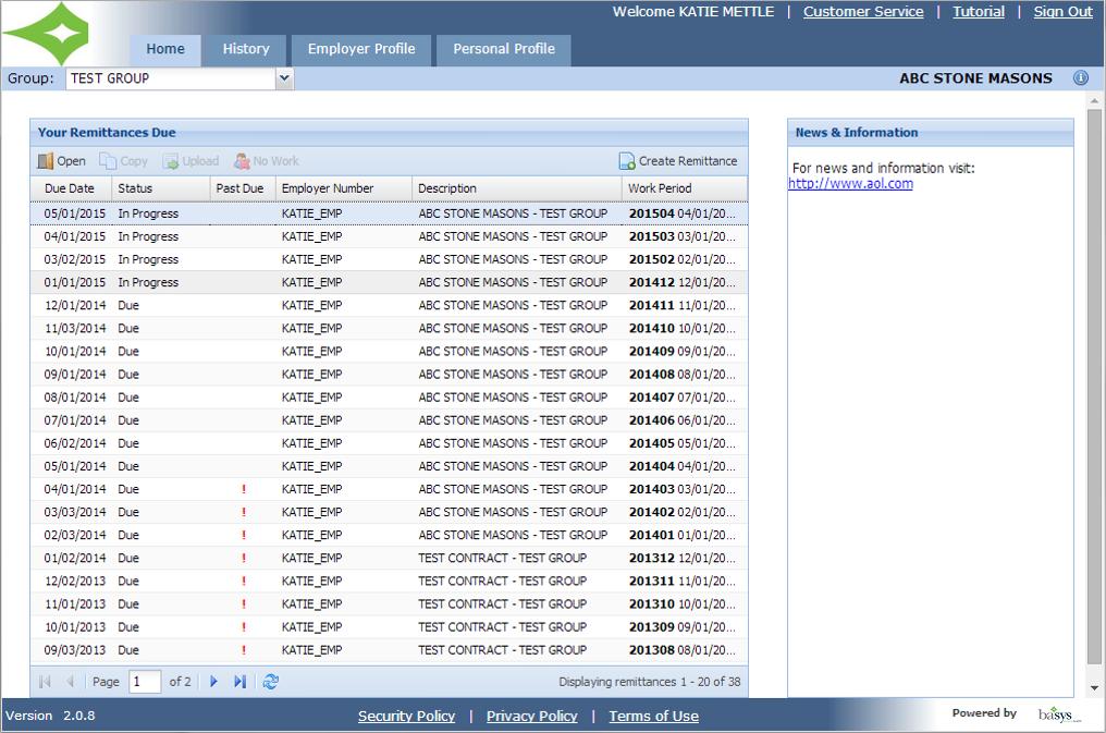 FundOfficeXG Software - Employer portal list