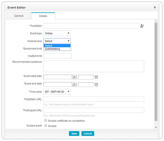 Instancy Learning Management System Software - Instancy event editor