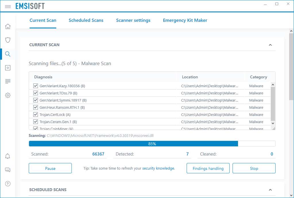 Emsisoft Business Security current scans