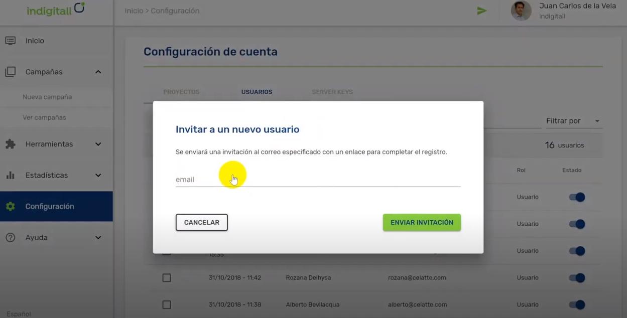 Indigitall invitation to users