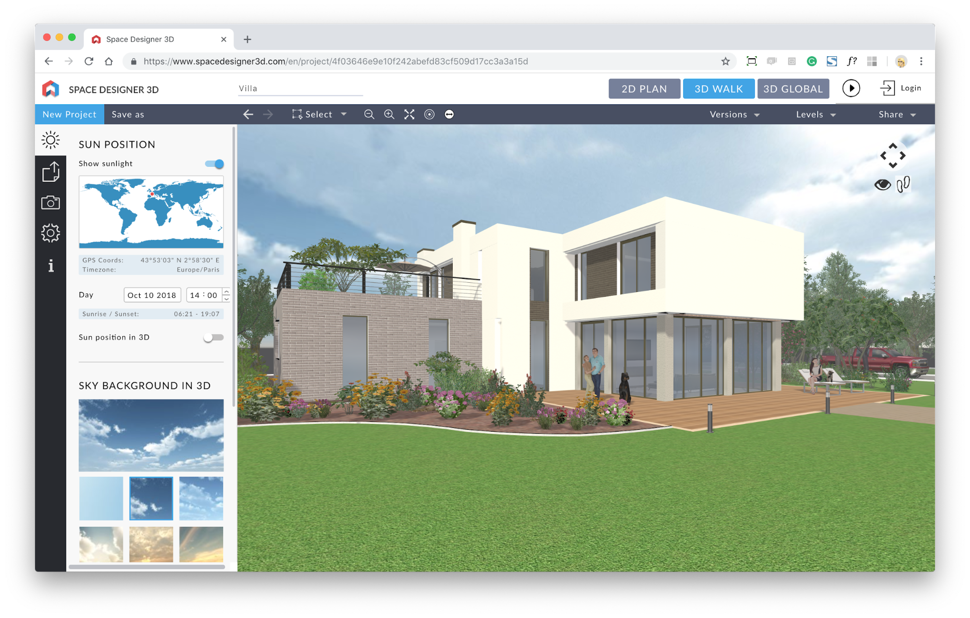 In-app 3D of a house created on Space Designer 3D