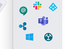 Greetly screenshot: Greetly has all of the integrations your workplace already uses - Active Directory, Azure AD, G Suite, Teams, Chat, Slack, Zapier, Okta, Azure SSO, Rippling and many more