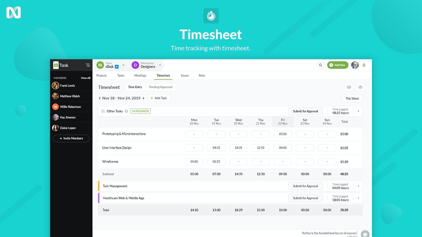 nTask Software - nTask TimeSheets