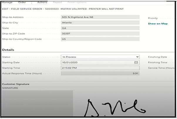 Mobile Field Service Management for Business Central capturing electronic signature