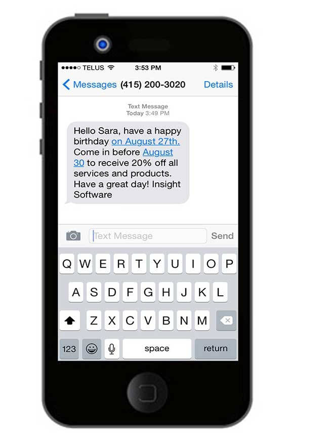 Insight Software - Automated text messages