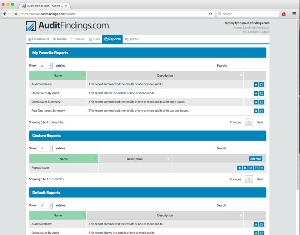 AuditFindings reports screenshot