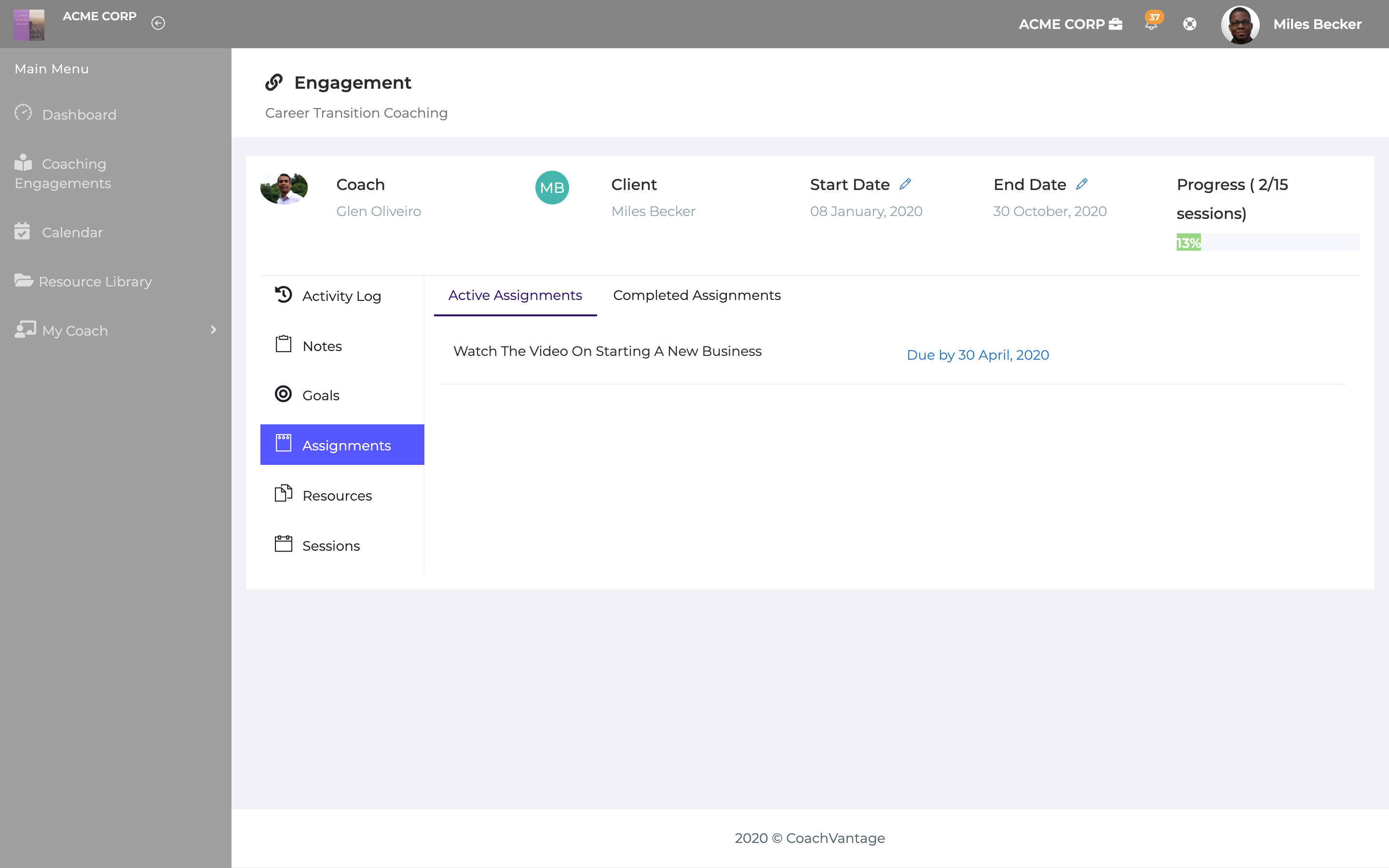 Client portal enables you to manage your coaching journey easily. Set goals, assignments, share resources and enable self-service scheduling. Enables a deeper level of engagement with your clients.