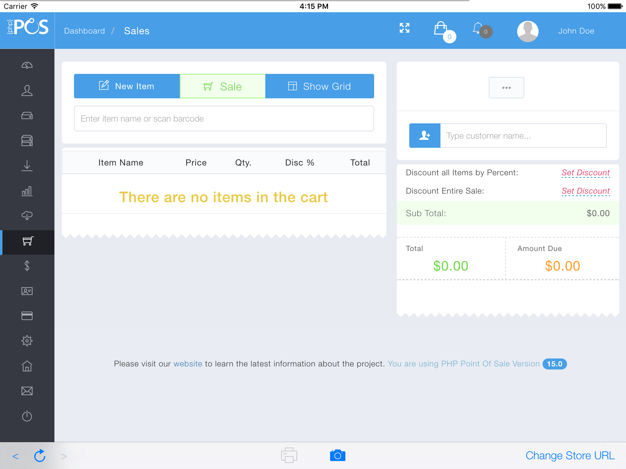 PHP Point of Sale Software - Sale view 2
