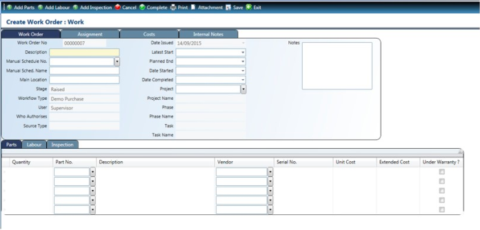 Maintenance work orders can also be created and routed in FMIS Asset Management