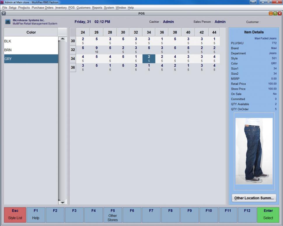 MultiFlex RMS Software - RMS Matrix View at POS