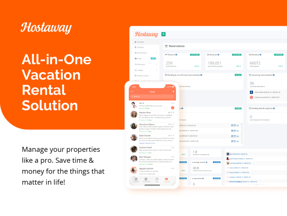 Hostaway is the market leading all-in-one tool for vacation rental property managers. The powerful PMS and Channel Manager gives you all the tools to automate and manage marketing, reporting, communication, payments, cleanings, pricing and staff.