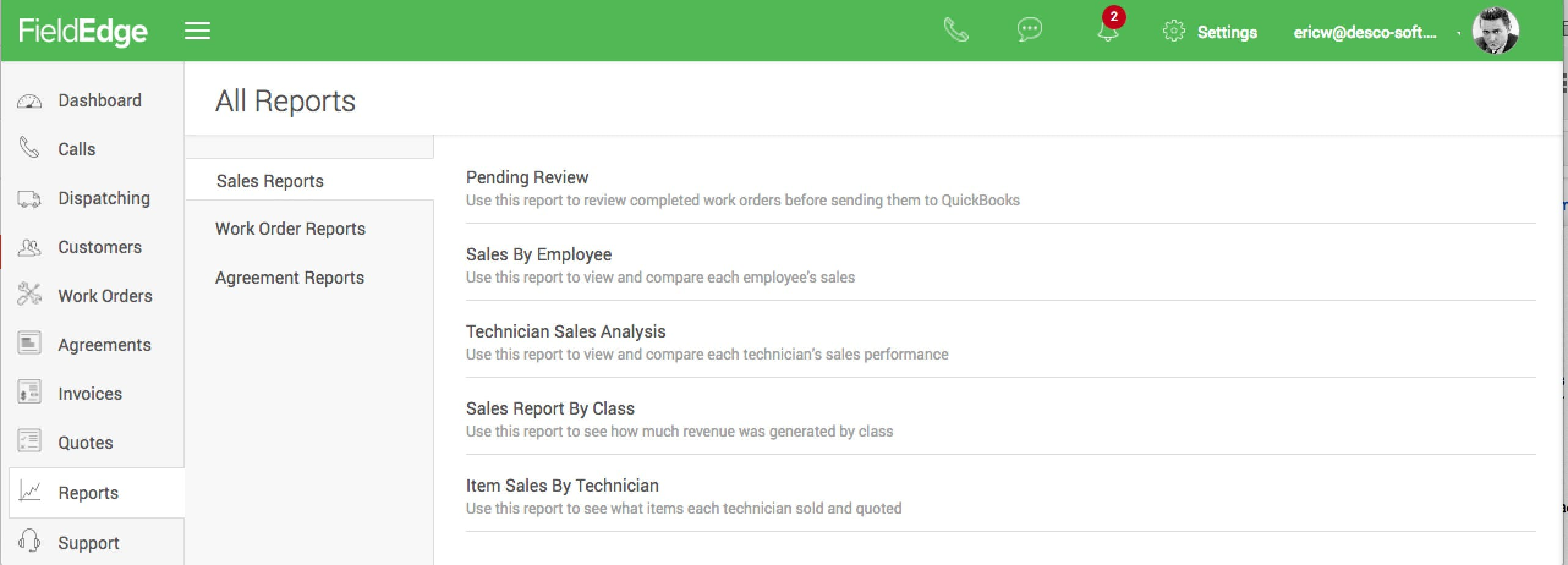 FieldEdge Software - FieldEdge sales reports