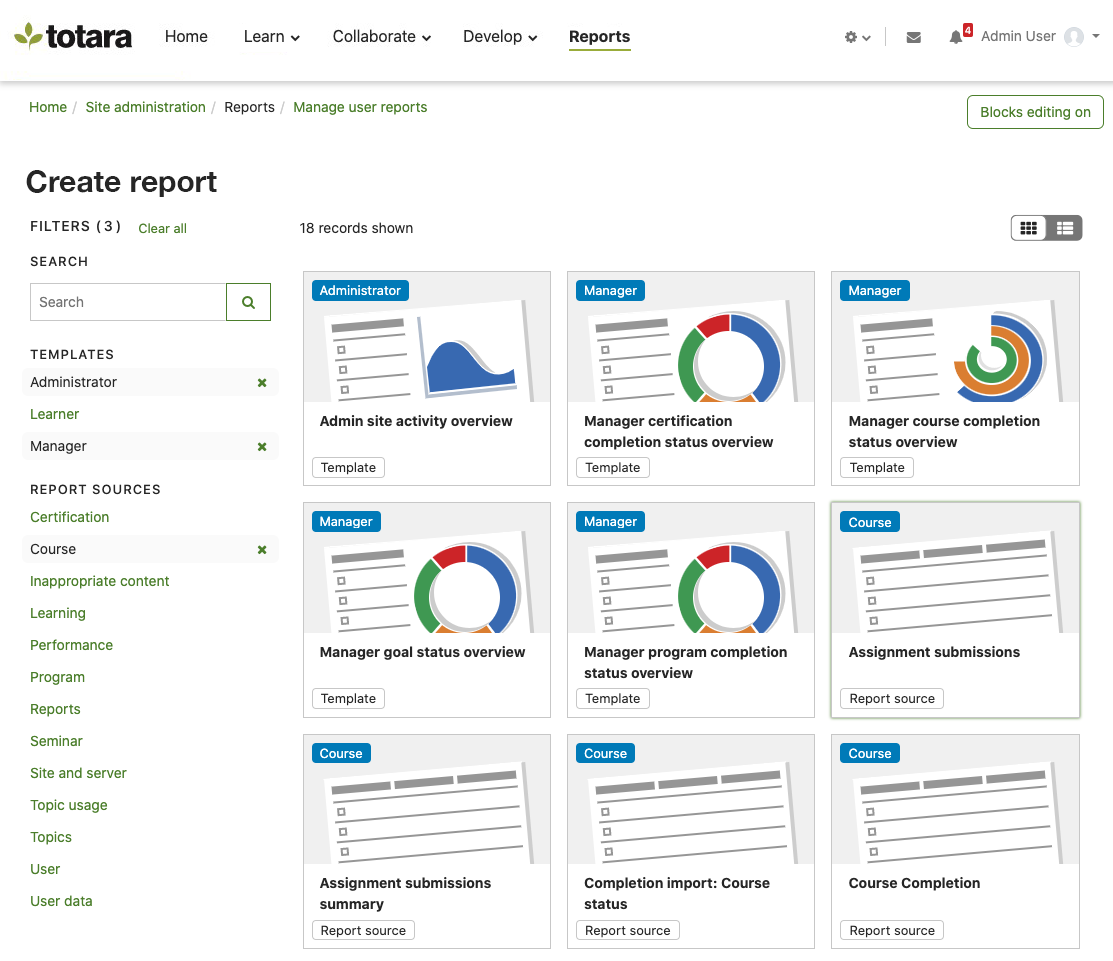 Totara Learn screenshot: Reporting in Totara Learn