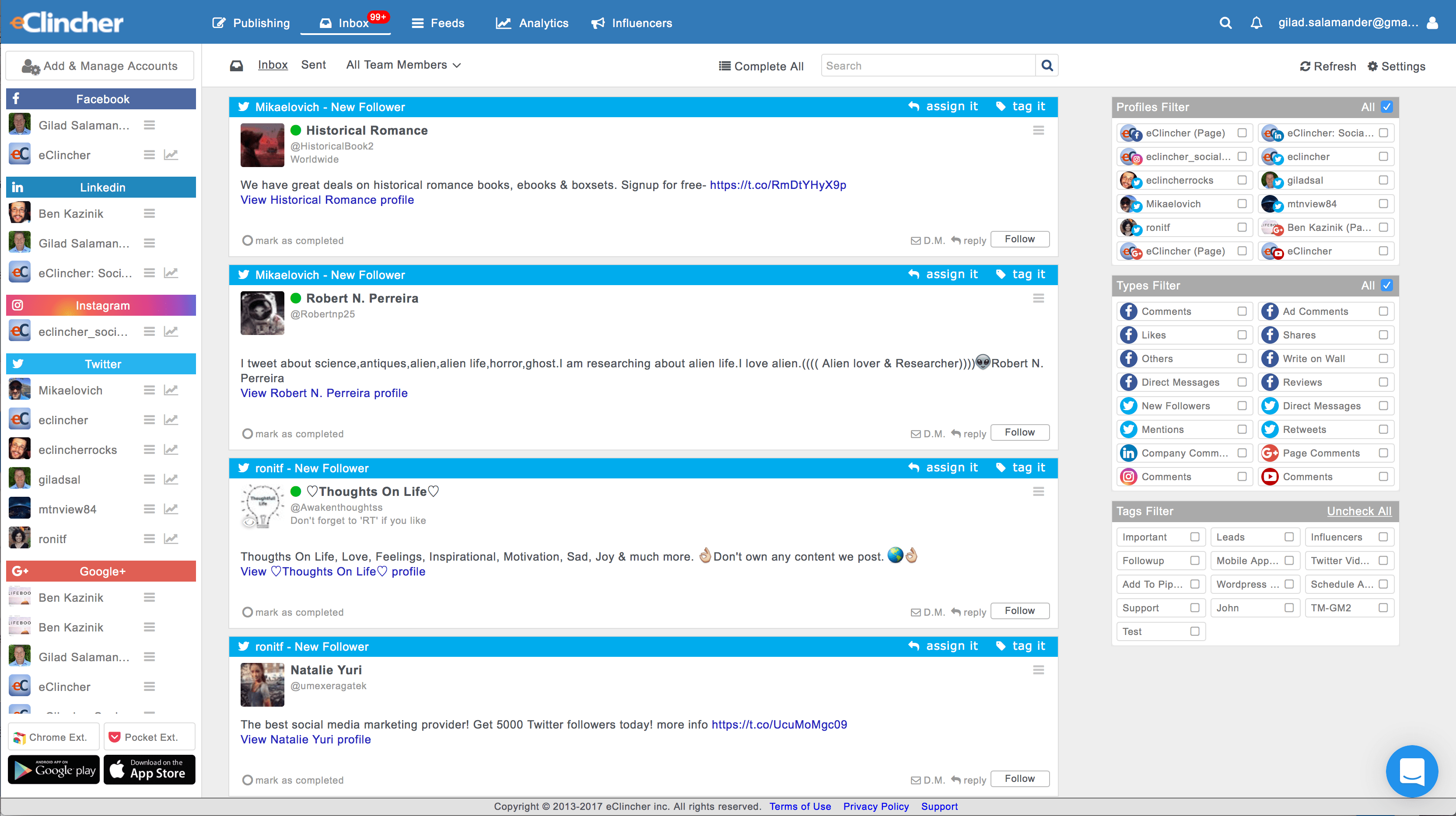 eClincher Software - Engage with unified social inbox. Manage conversations, comments, mentions, new followers, and more