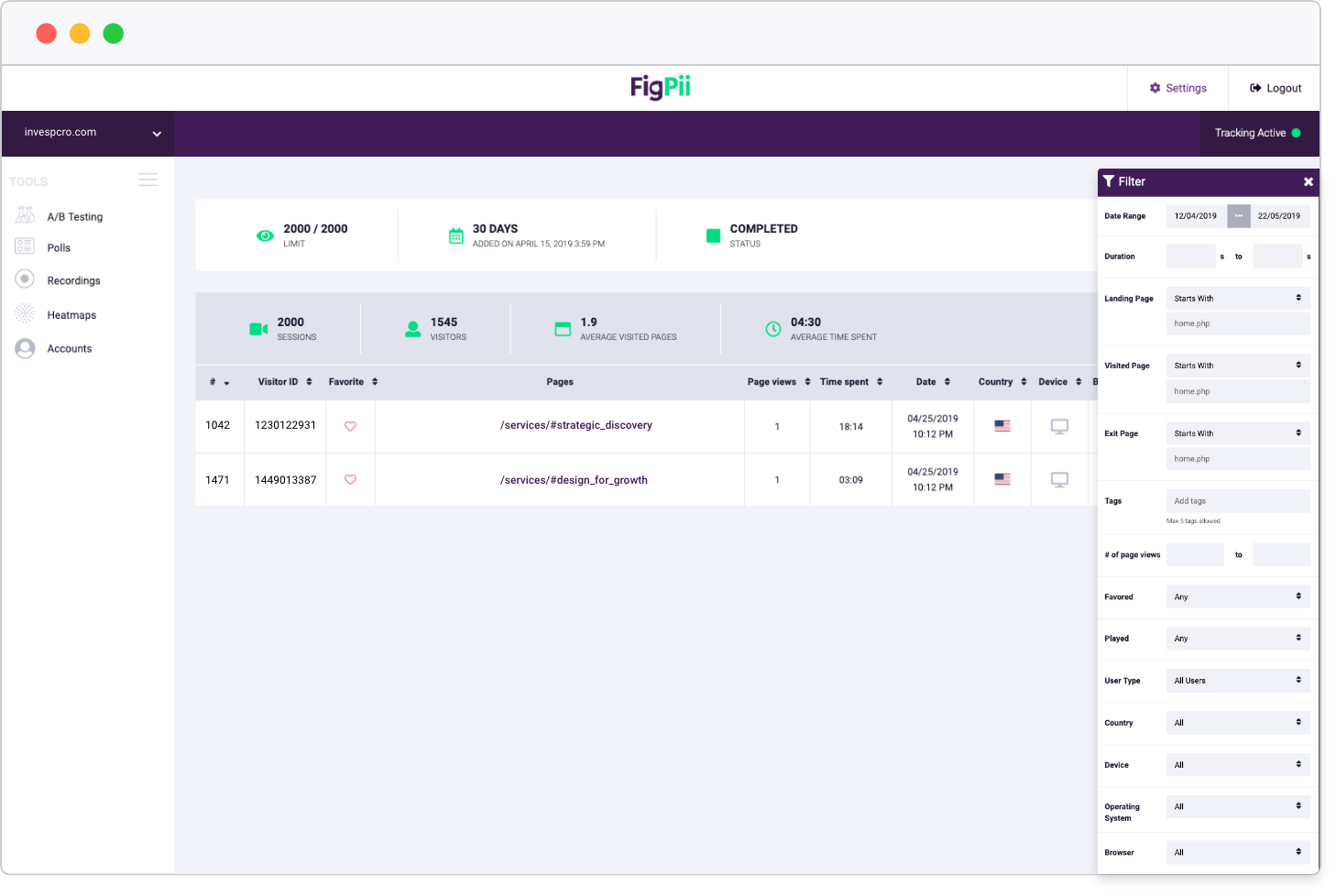 FigPii data filtering