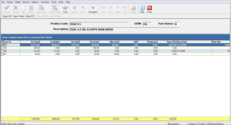 Enterprise 21 ERP Software - Multi-Warehouse Inventory Status