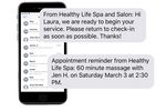 SalonBuilder screenshot: Businesses can send communications to clients within SalonBuilder