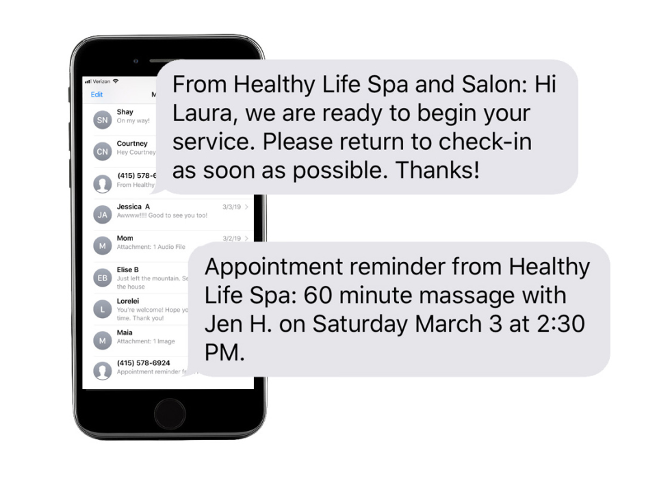 Businesses can send communications to clients within SalonBuilder