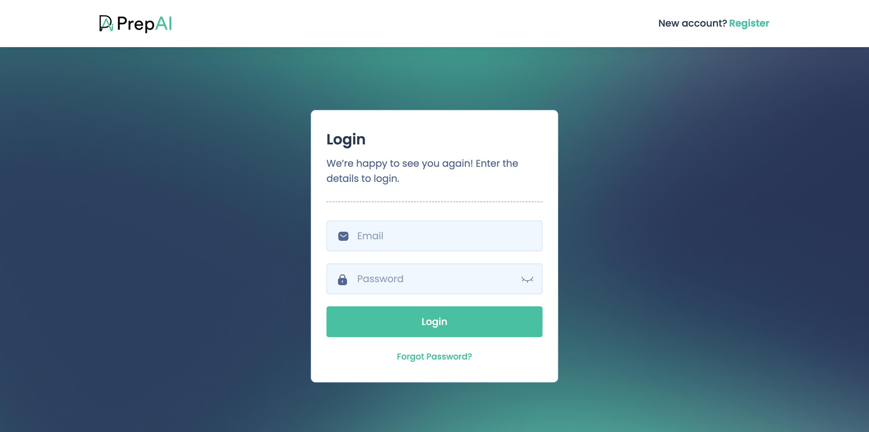PrepAI login screen